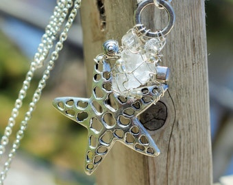 Large Starfish, MUSKOKA STONE wire wrapped pendant is made with sterling silver wire, glass, resin and pewter beads.