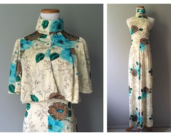 Vintage 1920's High Style Gatsby Dress Long Floral Maxi Racer Back Sleeveless High Collar Set Cape Caplet 1970's Cream Blue Size 4 XS Small