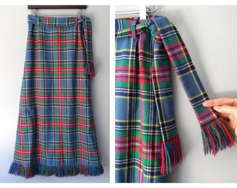 Vintage Fringe Skirt Wool Plaid Long Maxi Skirt Tailored High Waist Winter Lined Blue Green 70's Preppy Mid Calf Talbots Skirt Size 8 Medium