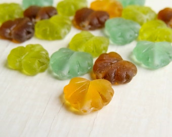 Autumn Maple - matte transparent amber, green, mint and brown czech glass leaves with picasso finish (10) uk czech beads, autumn fall beads