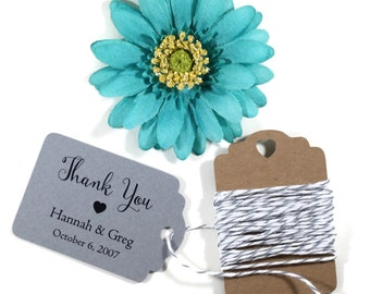 Wedding Gift Tags set of 20 - Personalized Grey Wedding Favor Tags - Dark Grey Custom Favors -  Bridal Shower Favors - Wedding Planning