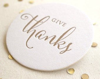 Letterpress Coasters - Give Thanks, Thanksgiving, Gold,  Ready to Ship!