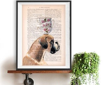 Fantasy Boxer print, Boxer art, stacking teacups, Dog Artwork, Boxer Art Print, Gift for Him, Red, Office Wall Art, Wall Decor, Home Decor