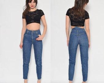 Vintage 80's High Waisted Tapered Leg Jeans / Blue Denim Jeans / Skinny Jeans