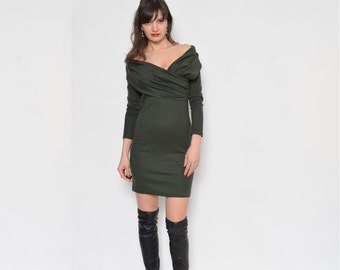 Vintage 90's Olive Green Mini Dress / Long Sleeve Moss Green Dress