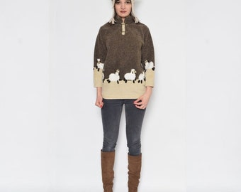 Vintage 90's Sheep Two Piece Jumper And Hat Set