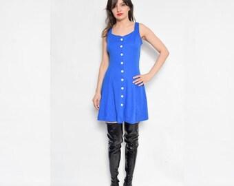 Vintage 90's Button Blue Dress / Sleeveless Full Circle Dress / Blue Mini Dress - Size Medium