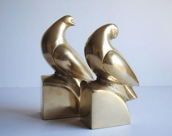 Vintage Brass Bird Bookends