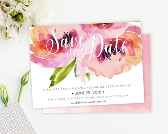 Watercolor Peony Save The Date, Roses, Floral Save the Date Card, Postcard, Feminine