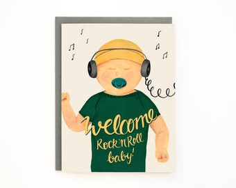 New Baby greeting card - Welcome Rock 'n' Roll baby! - New Arrival / BAB-MUSIC