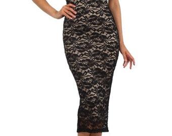 Black Lace Bodycon Midi Women's Dress