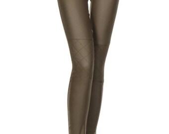 Faux Leggings, Funky Leggings,Comfortable Leggings,Leather Leggings,Spandex Leggings,Pixie Leggings,Khaki Leggings,Khaki Faux,Gift For Her