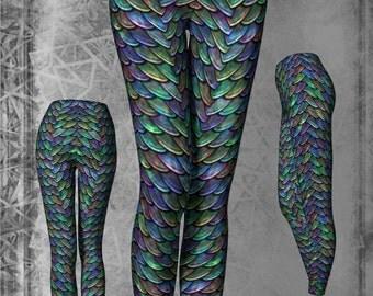 Mother of Dragons Fancy Rainbow Scales Look Print Leggings