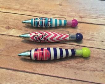 Monogrammed Pen, Chevron Pen, Stripe Pen, Personalized Pen, Stocking Stuffer, Desk Accessories