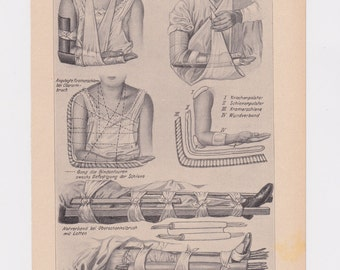 Antique First Aid Print, 1920s German Medical Book Illustration, Arm Sling, Splint Bandage Wrapping PRNT01428