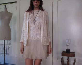 70's Cream Eloping Wedding Dress and Jacket sz Sm