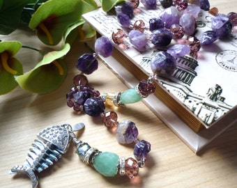 Collier améthiste , collier aventurine, amethyst necklace,  aventurine necklace, fish tassel necklace, guenines stones necklace, boho chic