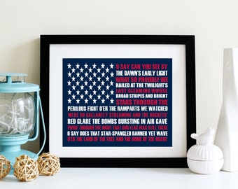 Patriotic Art Print - Fourth of July Decor - Star Spangled Banner Sign - Americana  - American Flag Print - Old Glory - Independence Day Art