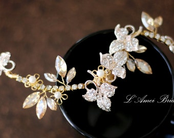 SALE Crystal hair vine, golden rhinestone Bridal Headpiece, champagne Crystal wedding hair Accessories,  Wedding Headpiece