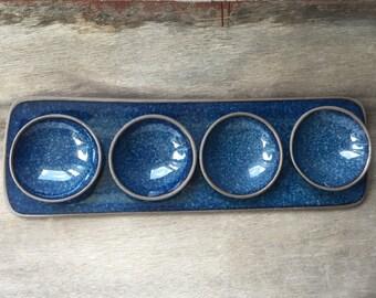 Blue Ceramic Tray,  Handmade Serving Tray, Sushi Platter, Rectangular Tray, Serving Platter