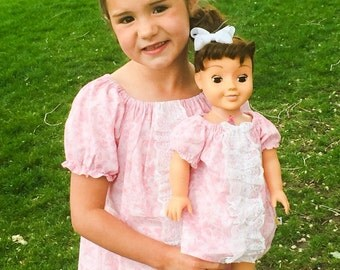 girl doll matching, ready to ship, size 7 or 8, Easter dress, pink ruffle dress, 18 inch doll clothes,tea party dress,dolly and me dress set