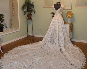 1980s Satin Ballgown Wedding Dress, Heavily Beaded Appliques, Sweetheart Neckline, Cathedral Train