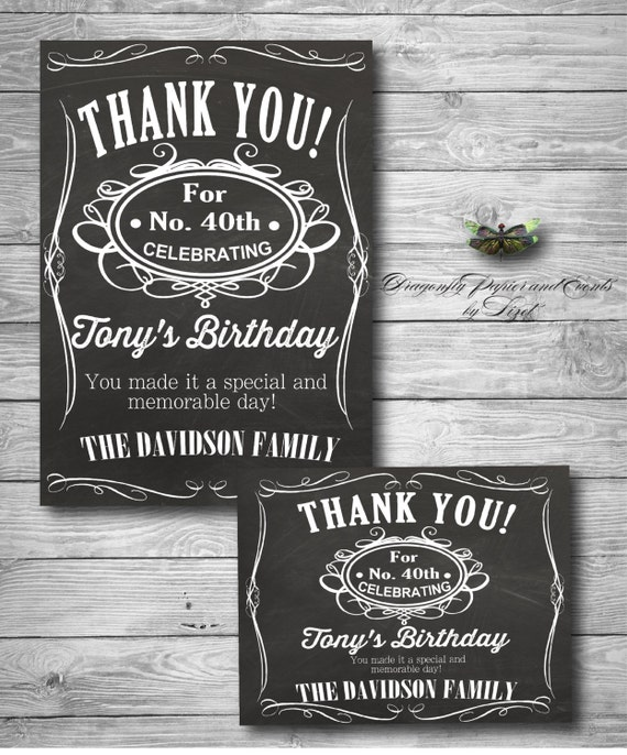 50th Birthday Liquor: Liquor Theme Birthday Thank You Card / 40th / 50th / 60th