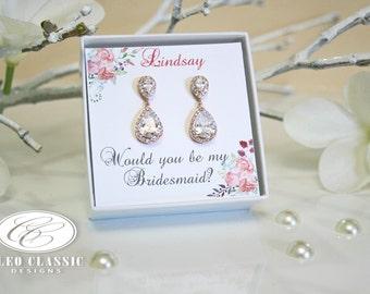 Rose Gold Earrings,Bridesmaid Set,Bridesmaid Gifts,Bridesmaid Earrings,Message for Bridesmaids,Bridal Earrings,Bridal Jewelry,Rustic Wedding