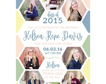 Senior Graduation Announcement 2016 - digital, 2016, shapes, handwriting script, colorful, fun, photo collage, Class of 2016