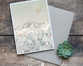 Succulent Greeting Card - Blank Card, Original Artwork, Hand Drawn Succulents, Cactus Illustration, Bohemian Decor, Succulent Cactus Art