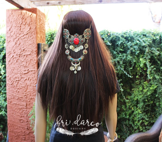 Boho Hair Piece Tribal Longhorn Gypsy Hair Chain Hair