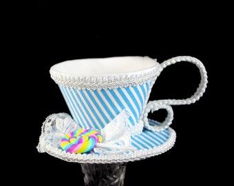 Aqua and White Stripe with Pastel Swirl Lollipop Tea Cup Fascinator Hat, Alice in Wonderland Mad Hatter Tea Party, Derby Hat