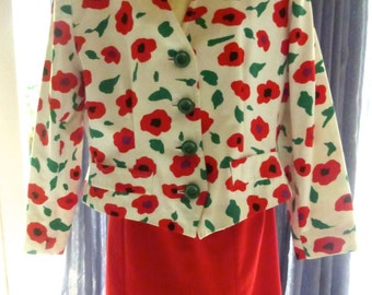 Vintage 1980s YSL Yves Saint Laurent Red Poppy Jacket And Pencil Skirt REDUCED