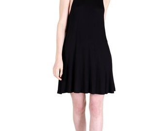 Ultra Soft Black Jersey Fit and Flair Swing Dress