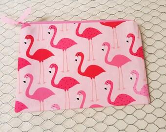 Zipper pouch, Cosmetic bag, Pencil pouch, Flamingos