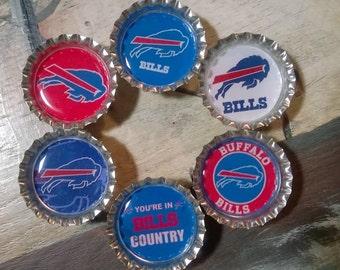 Six Buffalo Bill Magnets on Silver Bottle Caps