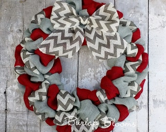 Winter Wreath, Holiday Wreath, Chevron Wreath, Year Round Wreath, Burlap  Wreath,