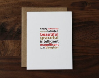 Mother's Day Card from Daughter - Talented, Beautiful, Graceful… Humorous Mother's Day Card for Mom - 048