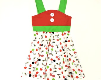 Cherry Dress -Toddler Outfit -Summer dress- Baby Girl Dress - Red Dress