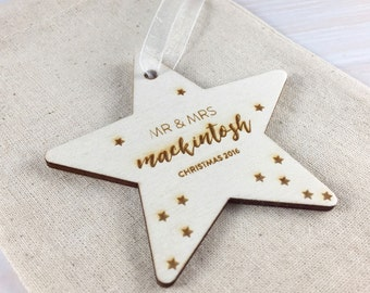 Mr & Mrs First Christmas 2017 // Personalised Wooden Star Christmas Tree Decoration
