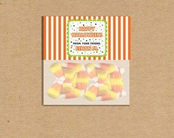 Halloween Printable Treat Bag Toppers Personalized Party Favor Bag Toppers Digital File