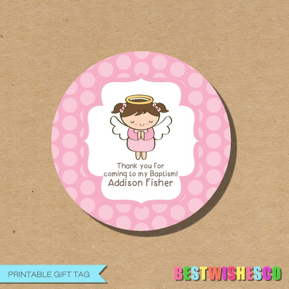 Personalized printable baptism tag favor gift tags first communion il570xn negle Gallery