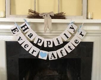 Happily Ever After Wedding Banner Wedding Garland Sign - Wedding Decoration - Photo Prop - Wedding Photos -  wedding garland CUSTOM colors