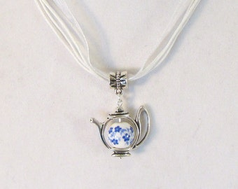 Painted Blue China Teapot 16in White Ribbon Necklace  (N184)