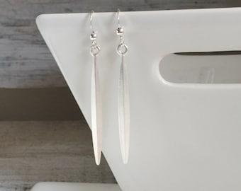 Skinny Silver Bar Drop Earrings, Matte Silver Dangle Earrings, Long Silver Spike Earrings
