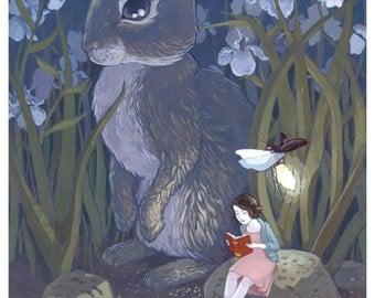Rabbit and Girl Reading Print - The Iris Opens At Night - 5x7 Print