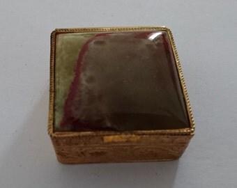 Vintage Italian onyx topped pill box