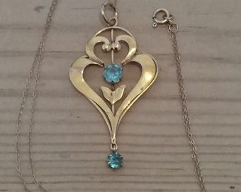 Vintage 9ct gold and topaz drop pendant and chain