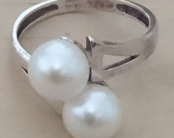 Vintage sterling silver A1 white Pearl ring