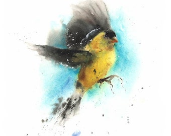GOLDFINCH ART PRINT - watercolor bird, american goldfinch print, yellow bird print, watercolor goldfinch, bird decor, yellow decor, bird art